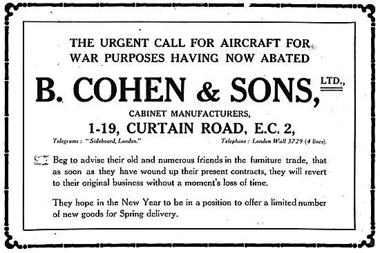 B.Cohen & Sons. 1-19 Curtain Road. EC2 - Propeller Manufacturers