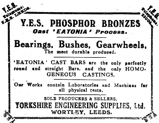 Yorkshire Engineering Supplies Ltd. Phosphor Bronze Bearings