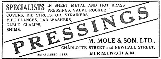 M.Mole & Son, Charlotte St Birmingham. Aircraft Sheet Metal Work