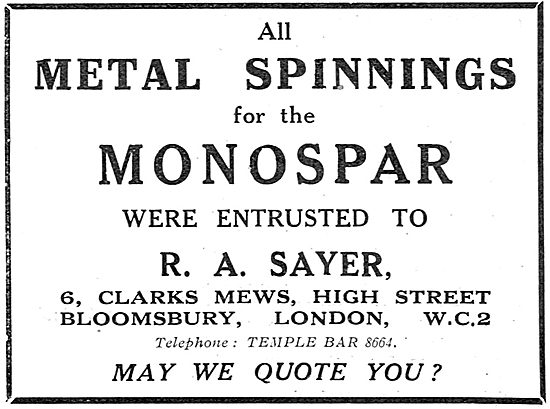 R.A.Sayer - Clark's Mews Bloomsbury. Metal Spinnings For Monospar