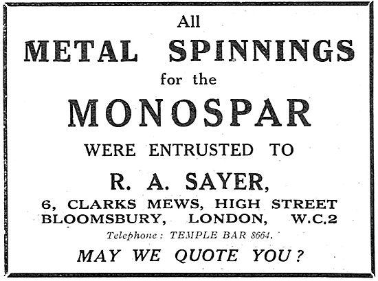 R.A.Sayer - Clark's Mews Bloomsbury. Metal Spinnings For Monospar
