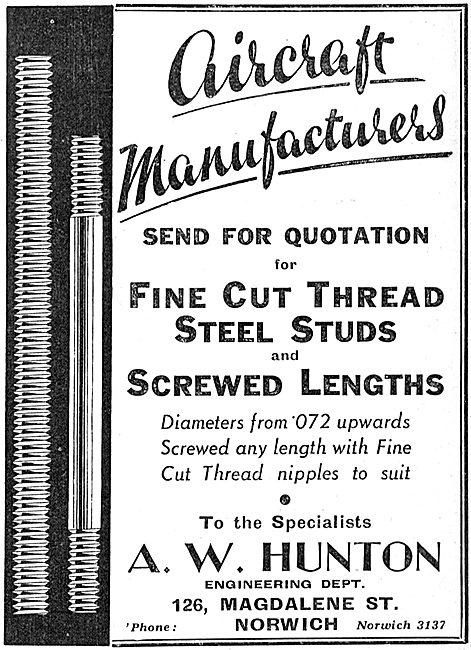 A.W.Hunton. Magdalene St, Norwich. Steel Studs For The Aviation