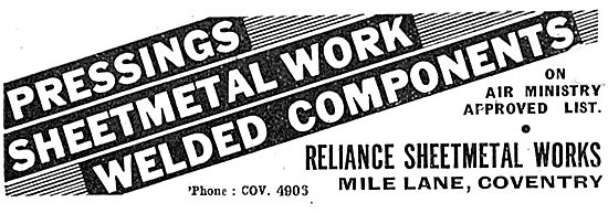 Reliance Sheet Metal Works. Mile Lane, Coventry.