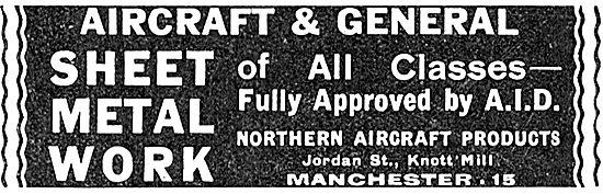 Northern Aircraft Products. Jordan St, Manchester. Sheet Metal