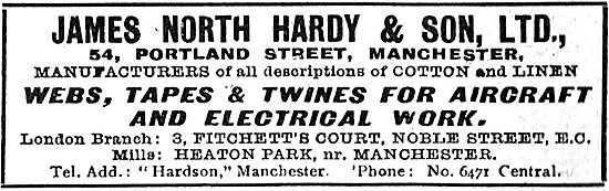 James, North Hardy & Son. Webs, Tapes & Twine For Aircraft