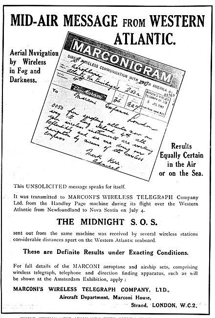 Marconi Marconigram For Handley Page Atlantic Flight 1919