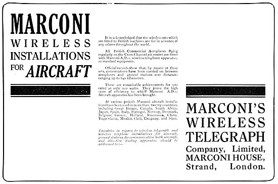 Marconi Wireless Installations For Aircraft