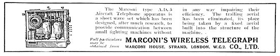Marconi Wireless Telephony For Aircraft. AD8 Apparatus.