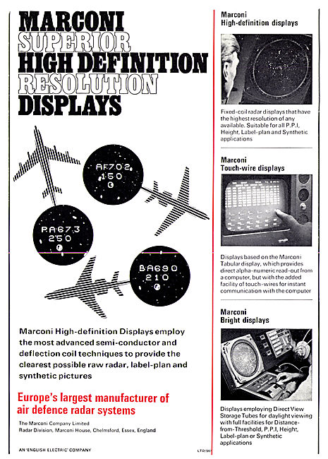 Marconi High Resolution Radar PPI Displays