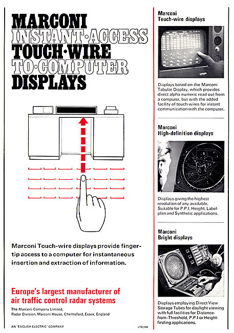 Marconi Touch Wire To Computer Displays 1967
