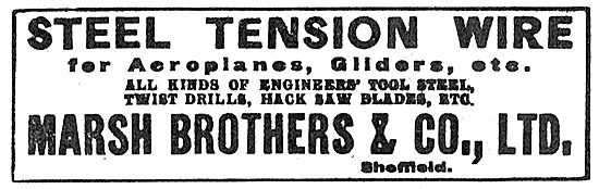 Marsh Brothers. Sheffield. Steel Tension Wire For Aircraft