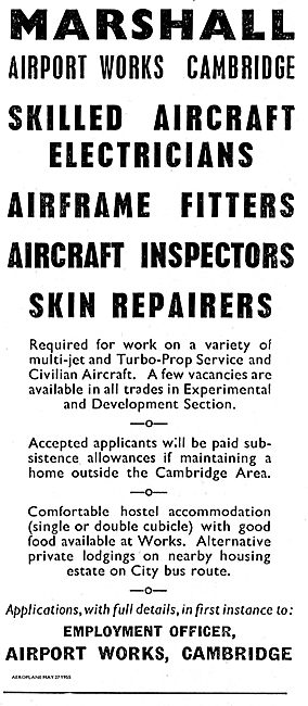 Marshalls Of Cambridge Require Aircraft Skin Repairers