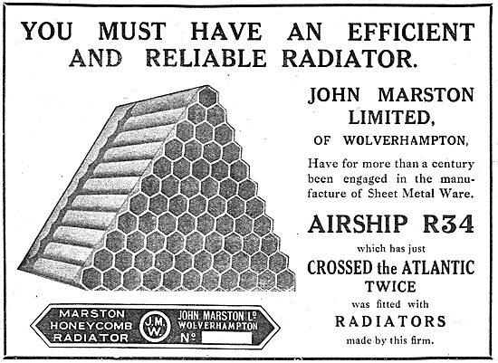 John Marston Ltd - Airship R34 Radiators