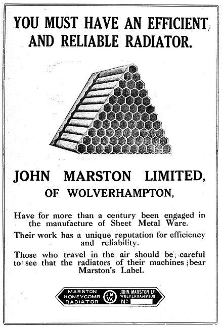 John Marston Ltd - Aircraft Radiators 1919