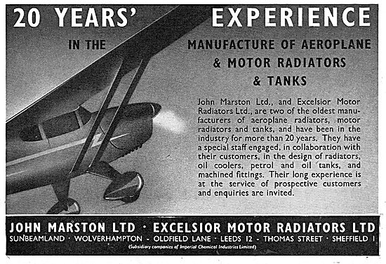John Marston Ltd - Aircraft Radiators & Tanks