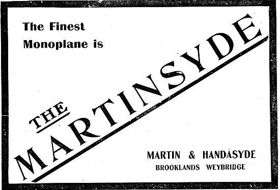Martinsyde Monoplanes - Martin & Handasyde Brooklands