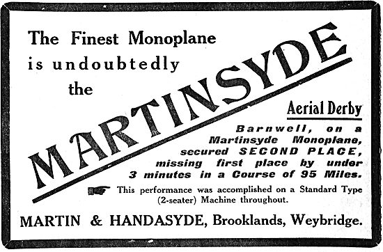 Barnewell 2nd In Aerial Derby On A Martinsyde Monoplane