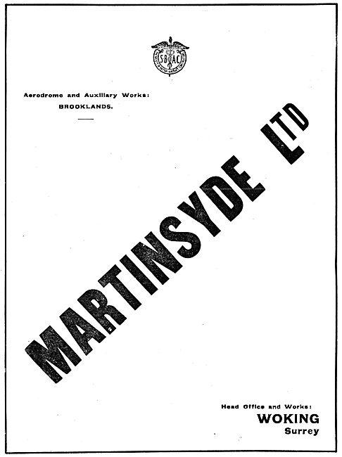 Martinsyde Aircraft. Woking Surrey. 1917