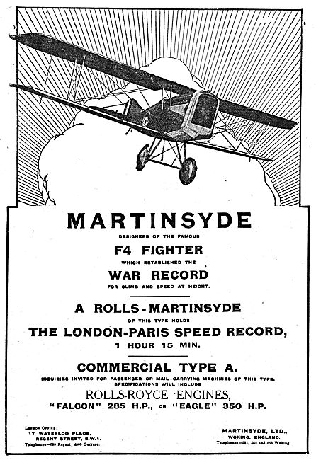 Martinsyde F4 Fighter Aircraft