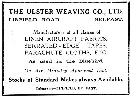 Ulster Weaving Co, Linfield Rd, Belfast. Aeroplane Fabrics