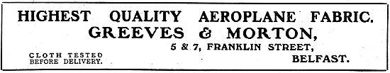 Greeves & Morton. Franklin St, Belfast. Aeroplane Fabrics