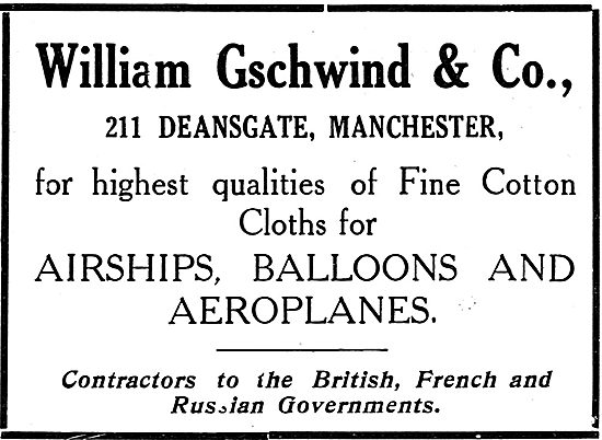 William Gschwind  & Co. Manchester. Aeroplane Cotton Cloths