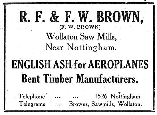 R.F. & F.W.Brown: English Ash. Wollaton Saw Mills. Nottingham