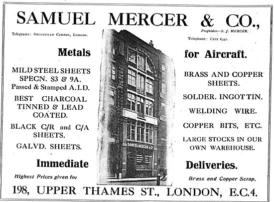 Samuel Mercer & Co - Metal Suppliers To The Aircraft Industry
