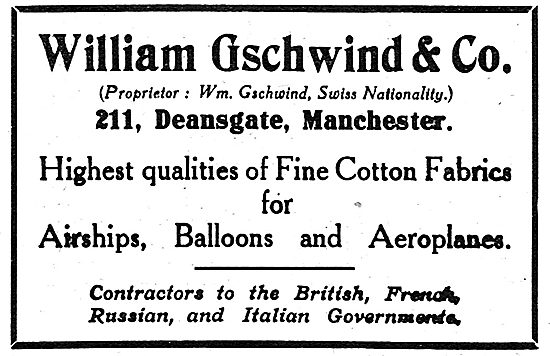 William Gschwind & Co. High Quality Fabrics For Aeroplanes