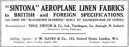 J.W.Gates Sintona Aeroplane Linen Fabric