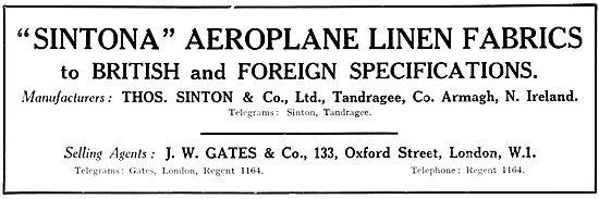 J.W.Gates Sintona Aeroplane Linen Fabric. 1931