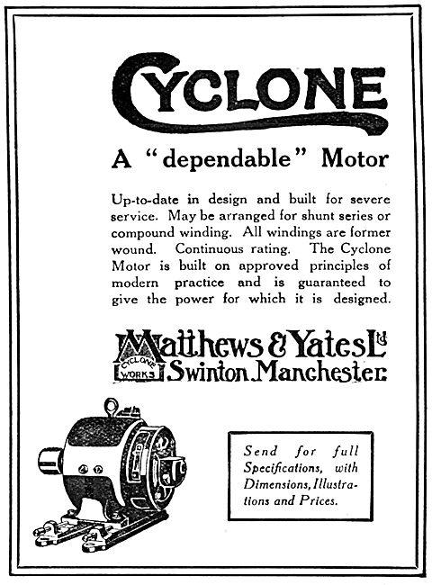Matthews & Yates Electric Motors 1917 Advert