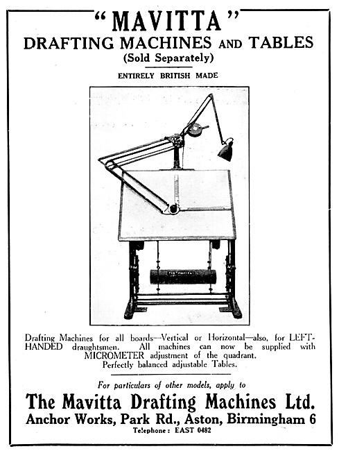 Mavitta Drafting Machines & Tables 1939