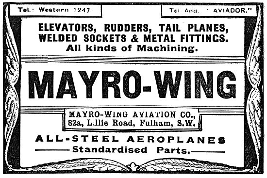 Mayro-Wing Aviation Co. Fulham. All-Steel Aeroplanes
