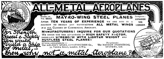 Mayrow Industrial Systems - Steel Aircraft Components. 1919