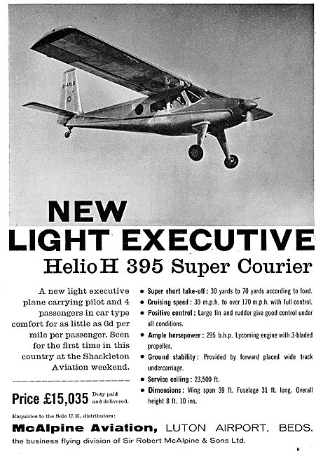 McAlpine Aviation Luton: Distributiors For The Helio Courier