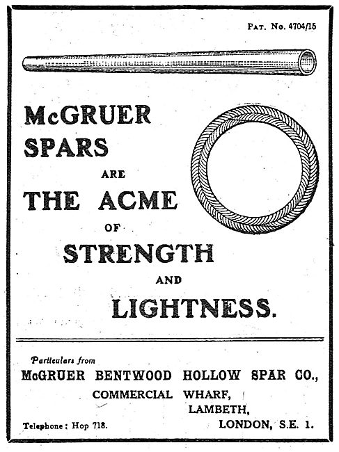 McGruer Bentwood Hollow Spar Company. Aircraft  Struts