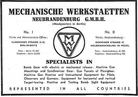 Mechanische Werkstaetten. Aircraft Components 1939