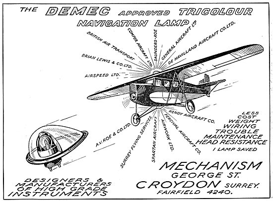 Mechanism Aircraft Instruments. Demec Navigation Lamps