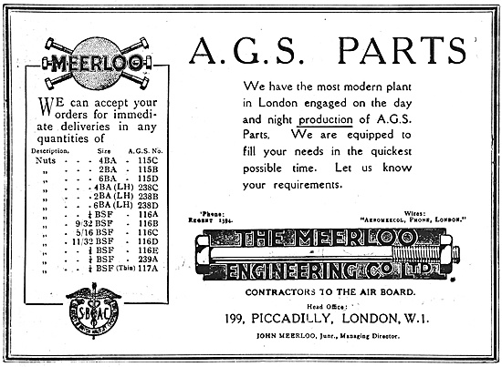 The Meerloo Engineering Co  AGS Parts 1918