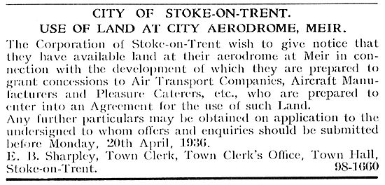 City Aerodrome Meir : Land Available - Concessions