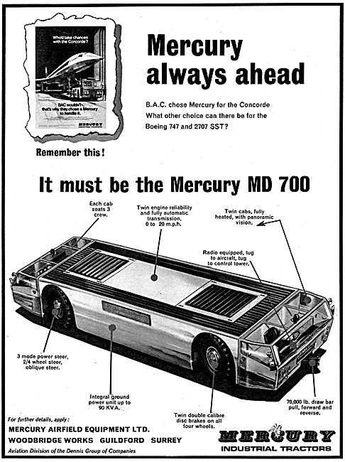 Mercury MD 700 Aircraft Tractor. Mercury Tugs 1968
