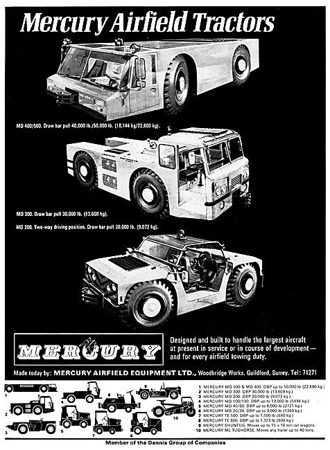 Mercury Airfield Tugs & Tractors. MD400/500  MD200