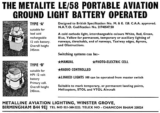 Metalline Aviation Lighting - Metallite LE/58 Portable Lights
