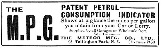 Meteor Manufacturing Company - Petrol Consumption Indicator. 1919