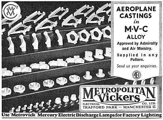 Metrovick MVC Alloy Castings. Metrovick Mercury Electric Lamps