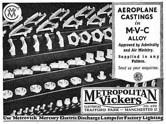 Metrovick Aertoplane Castings In MVC Alloy