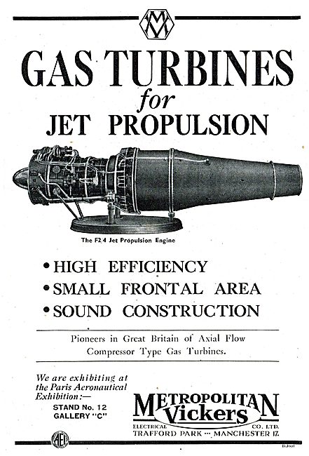 Metrovick Gas Turbines For Jet Propulsion