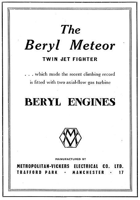 Metropolitan-Vickers. Metrovick Beryl Engine. Beryl Meteor 1949