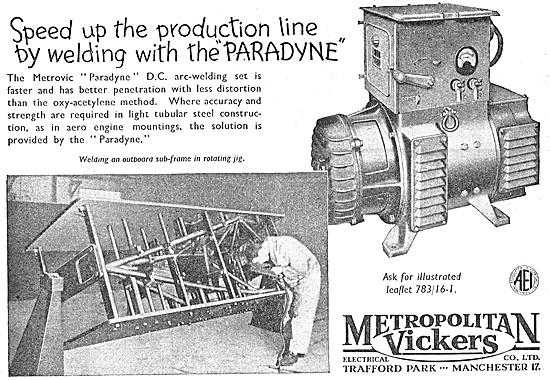 Metrovick Paradyne Arc Welding Set
